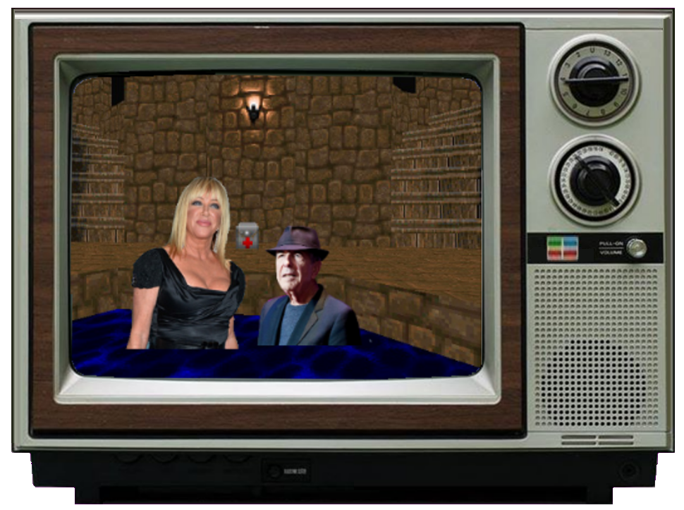 Leonard Cohen and Suzanne Somers in a hottub in MAP14 of Doom II